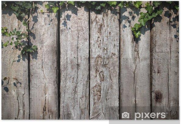 Plakat Pozostawia na drewnianym tle - Dom i ogród