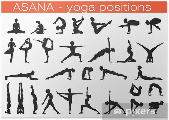 Plakat Pozycje jogi - Sporty indywidualne