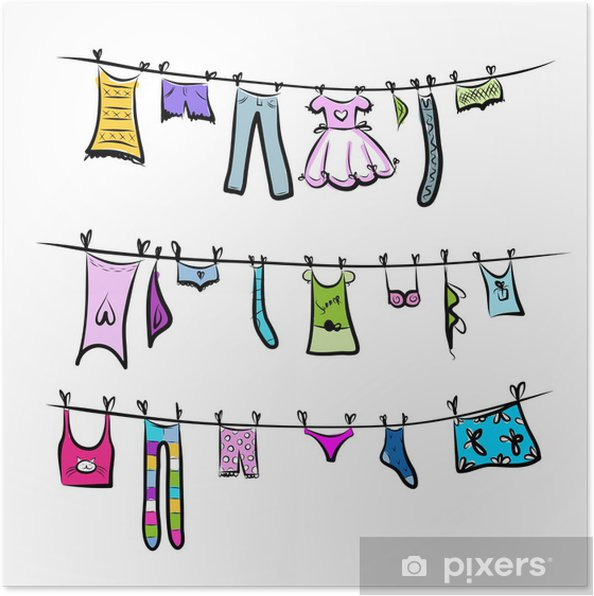 Plakát Prádlo na šňůře. Skici pro svůj design • Pixers® • Žijeme pro ... b2eadbbc96