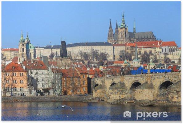 Plakat Praga gotycki zamek z mostu Karola, Republika Czeska - Europa
