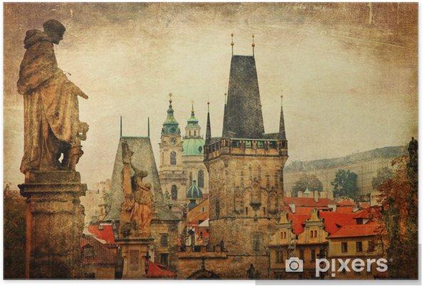 Plakát Praha, Karlův most, retro styl obrázek - Evropská města