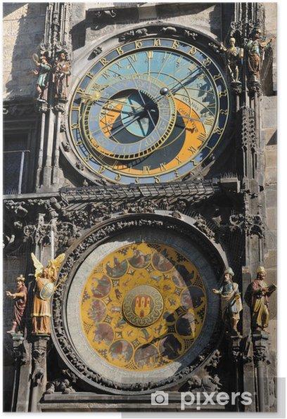 Plakat Praski zegar szczegółowo Astronomical, Orloj w Pradze - Przestrzeń kosmiczna