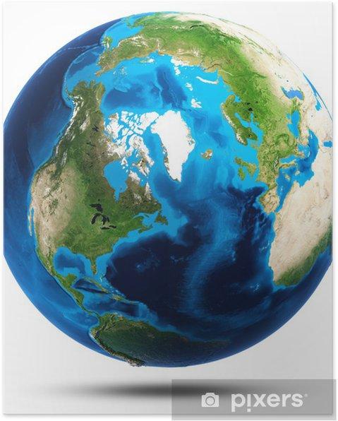 Plakat Prawdziwe góry ziemi ulga - Przestrzeń kosmiczna