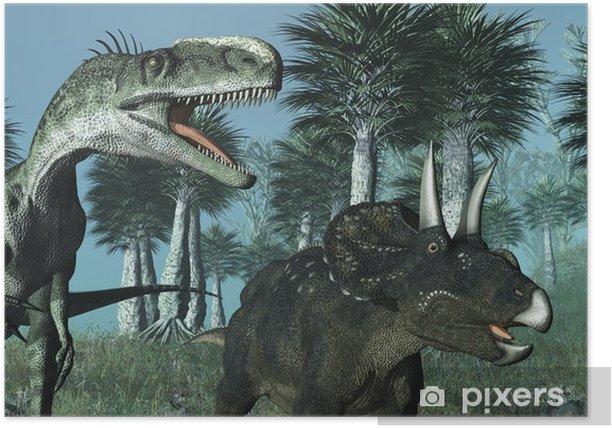 Plakat Prehistoric Scene with Dinosaurs 2 - 3D render - Tematy