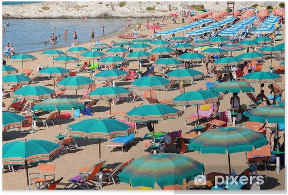 Plakát Přeplněné pláže s deštníky, Vieste, Apulie, Gargano, Itálie - Evropa