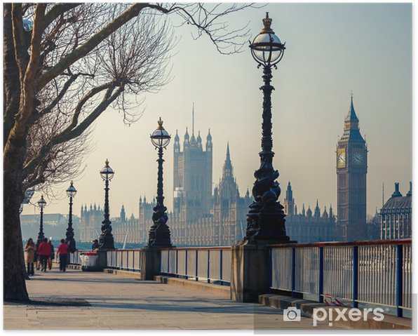 Plakat Promenada w Londynie z widokiem na Big Bena i Parlament - Tematy