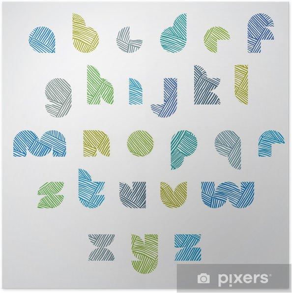 Plakat Prosty kształt kolorowe litery chrzcielnica z ręcznie rysowane wzór linii. - Edukacja