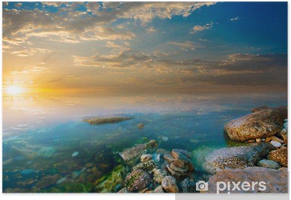 Plakat Przybrzeżne skały i zachód słońca - Pory roku