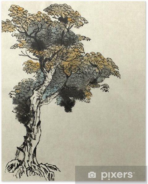 Plakat Przykład rysowania drzewa - Rośliny i kwiaty