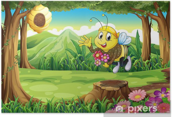 Plakat Pszczoła w lesie z kwiatami - Inne Inne