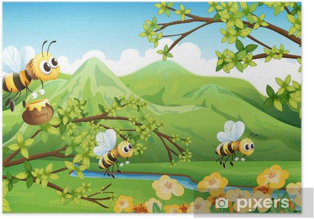 Plakat Pszczoły w pobliżu góry - Tła