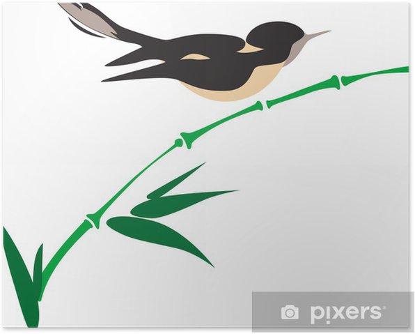 Plakát Pták na bambusové - Ptáci