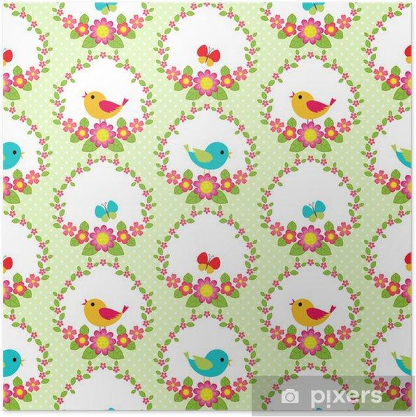 Plakat Ptaki i kwiaty - Dla przedszkolaka