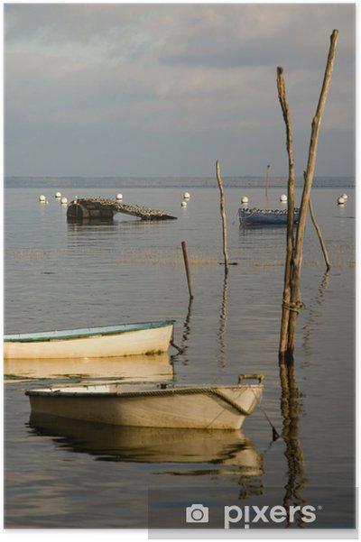 Plakat Ptaki i łodzie na oceanie Atlantyckim - Wakacje
