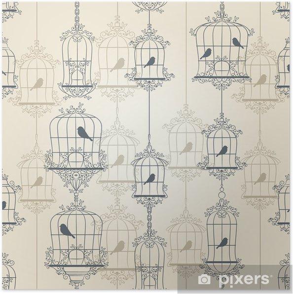 Plakat Ptaków i klatki dla ptaków w stylu vintage. Ilustracji wektorowych. - Tła