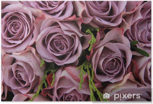 Plakat Purpurowe róże w aranżacji ślubnej - Świętowanie