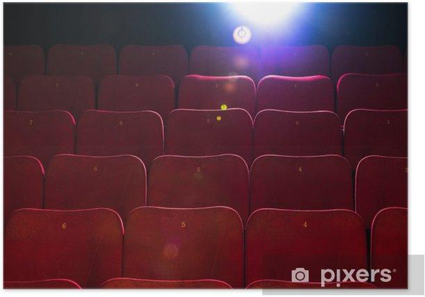 Plakat Puste wygodne czerwone fotele z numerami w kinie - Rozrywka