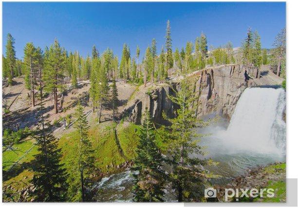 Plakat Rainbow Falls w diabła Postpile pomnika narodowego w Californi - Ameryka