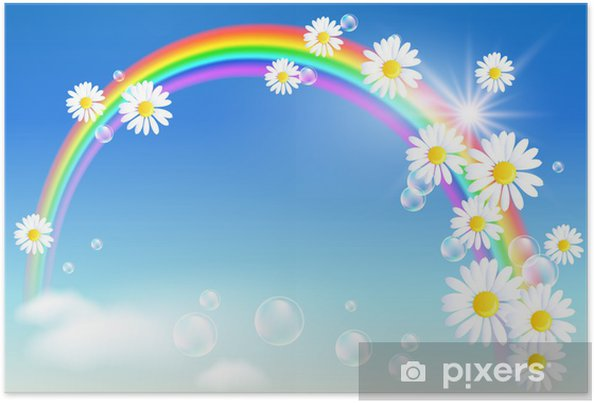 Plakat Rainbow i kwiaty - Tęcza