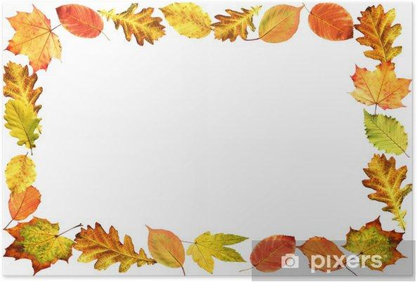Plakat Rama, liści jesienią - Drzewa