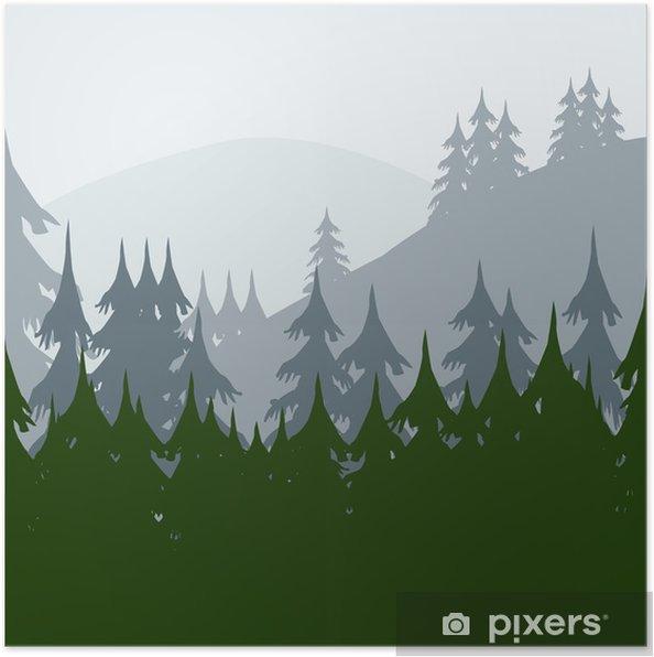 Plakat Rano w lesie - Lasy