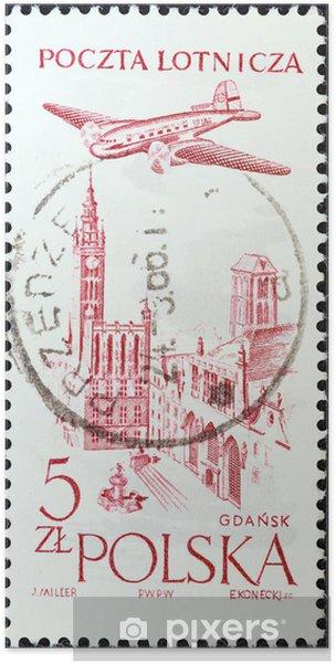 Plakat Ratusz, Gdańsk i samolot (Polska 1957) - Budynki użyteczności publicznej