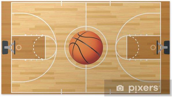 Plakat Realistyczna grafika i piłka Koszykówka Trybunał - Koszykówka