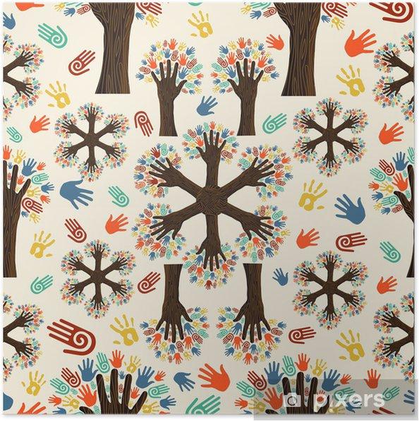Plakat Ręce drzewo Diversity wzór - Drzewa