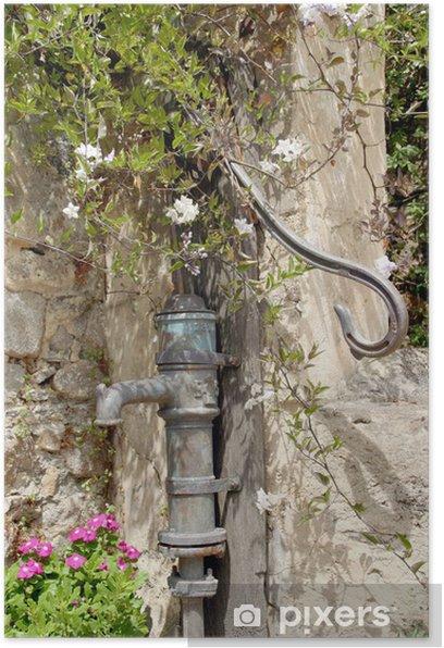 Plakat Ręczna pompa - pompa wody - Wakacje