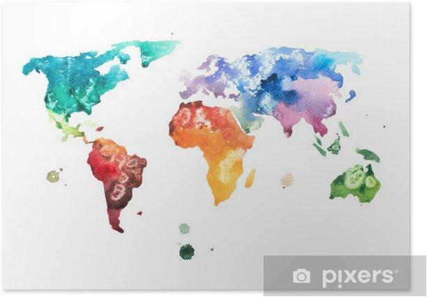 Plakat Ręcznie rysowane akwarela akwarela ilustracja mapa świata. - Hobby i rozrywka