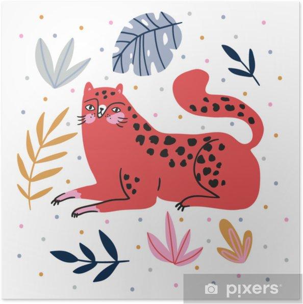 Plakat Ręcznie Rysowane Ilustracja Z Dzikiego Kota I Tropikalnych Liści Na Tle Kropki Do Wystroju Domu Druk Koszulki Plakat Karty Z