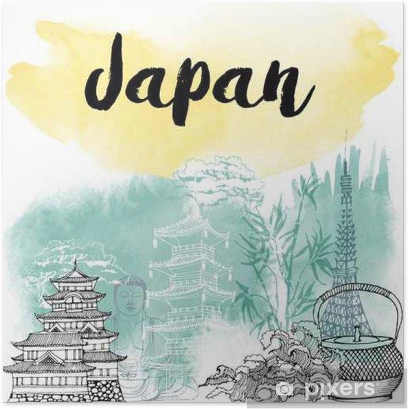 Plakat Ręcznie rysowane Japonia - Podróże
