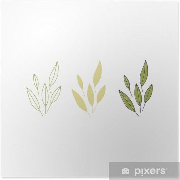 Plakat Ręcznie rysowane kwiatowy obiekt - Zasoby graficzne