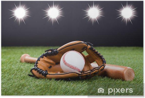 Plakat Rękawica Baseball w baseball i bat - Artykuły sportowe