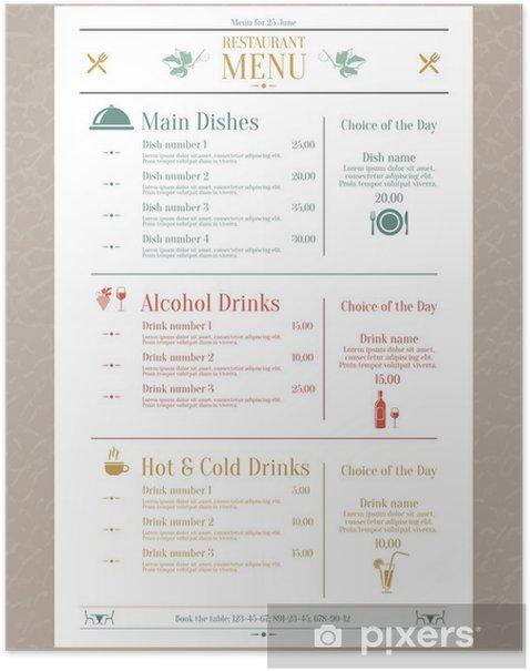 Plakát Restaurace menu šablony - Situace v podnikání