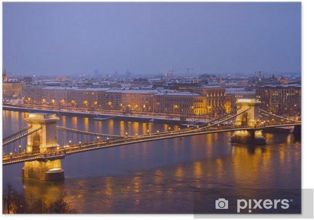 Plakát Řetězový most shora, Budapešť - Evropa