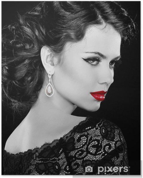 Plakat Retro kobieta. Model Portret mody dziewczynka. Czarno-białe zdjęcie. - Moda