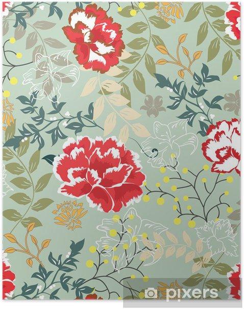 Plakat Retro kwiatowy bezszwowe tło, wzór - Sztuka i twórczość