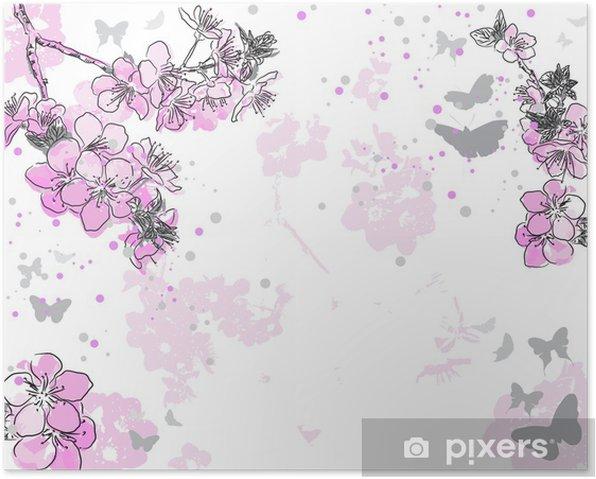 Plakat Retro kwiatu tła z kwiatem - Kwiaty