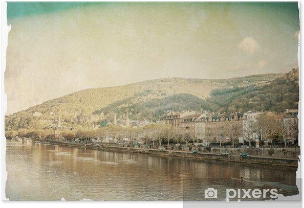 Plakat Retro stare miasto Heidelberg - Pejzaż miejski