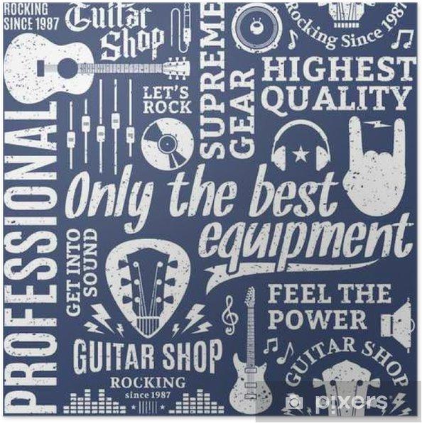 Plakat Retro Stylem Typograficzny Wektor Szwu Wzór Gitary Sklep
