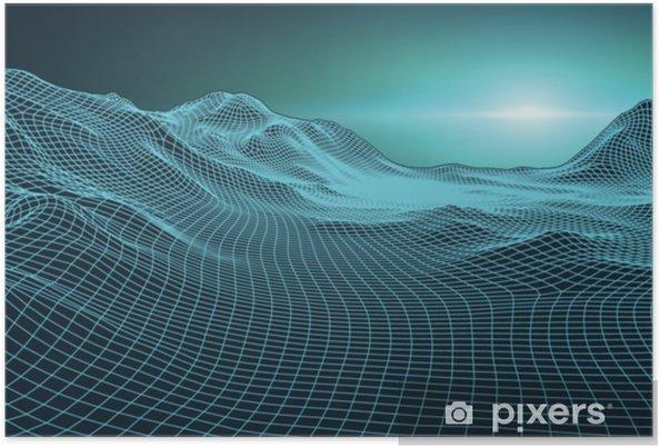 Plakat Retro tło futurystyczny krajobraz stylu lat 80. cyfrowy retro krajobraz cyber powierzchni. szablon okładki albumu retro muzyka: słońce, przestrzeń, góry. 80s retro sci-fi tła lata krajobraz. - Technologia