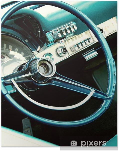 Plakat Retro wnętrza samochodu - Transport drogowy