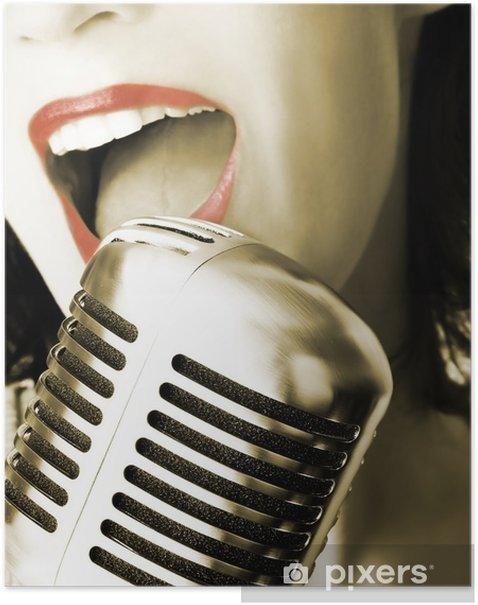 Plakát Retro zpěvák - Rock
