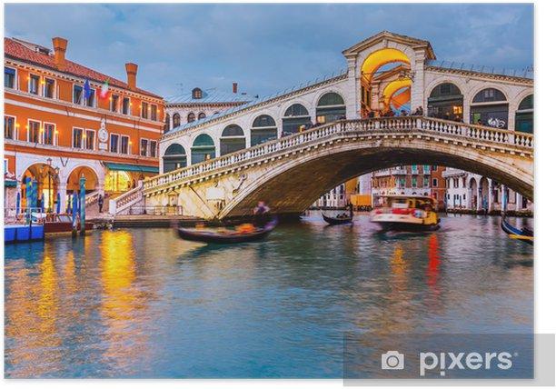 Plakat Rialto Bridge o zmierzchu - Tematy