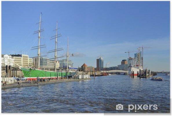 Plakat Rickmer Rickmers i Filharmonia Elbe portu w Hamburgu - Europa