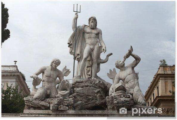 Plakát Řím - Neptunova fontána na náměstí Piazza Popolo - Evropská města