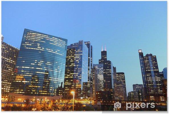 Plakat Riverside Downtown Chicago / USA o zmierzchu - Ameryka