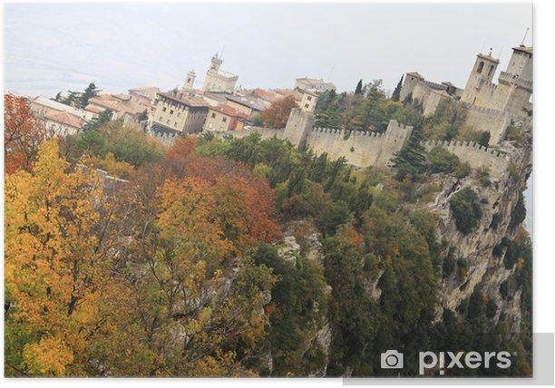 Plakat Rocca Guaita starożytnej fortecy San Marino - Pory roku