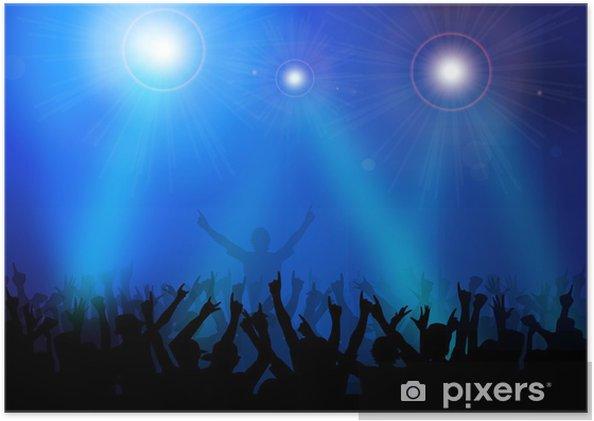 Plakát Rockový koncert. Vektor. - Skupiny a dav